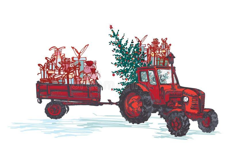 Festliche Karte des neuen Jahres 2019 Roter Traktor mit Tannenbaum verzierte rote Bälle und die Feriengeschenke, die auf weißem H lizenzfreie abbildung