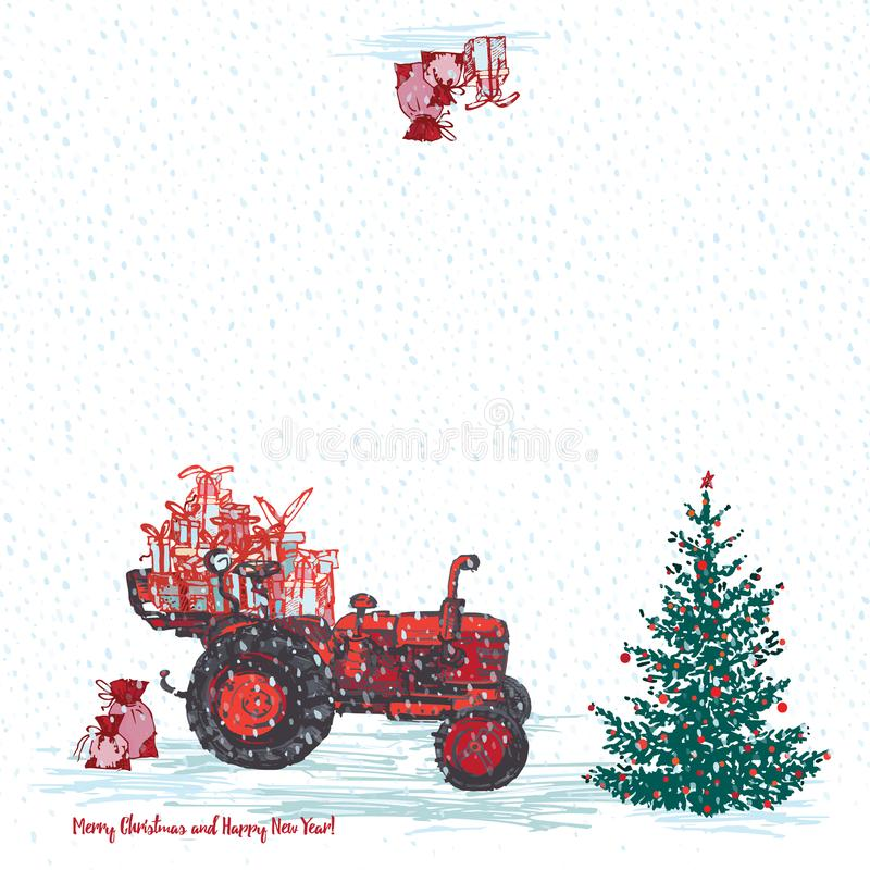 Festliche Karte des neuen Jahres 2019 Roter Traktor mit Tannenbaum verzierte rote Bälle und weißen schneebedeckten nahtlosen Hint vektor abbildung