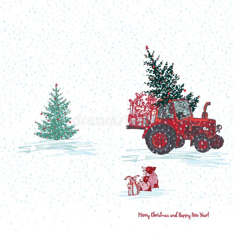 Festliche Karte des neuen Jahres 2019 Roter Traktor mit Tannenbaum verzierte rote Bälle und weißen schneebedeckten nahtlosen Hint lizenzfreie abbildung