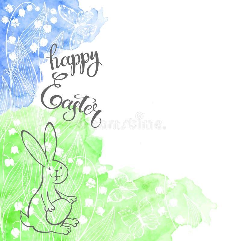 Festliche Karte Ostern mit Kaninchen, Maiglöckchen und Beschriftung auf Aquarellhintergrund Auch im corel abgehobenen Betrag stock abbildung