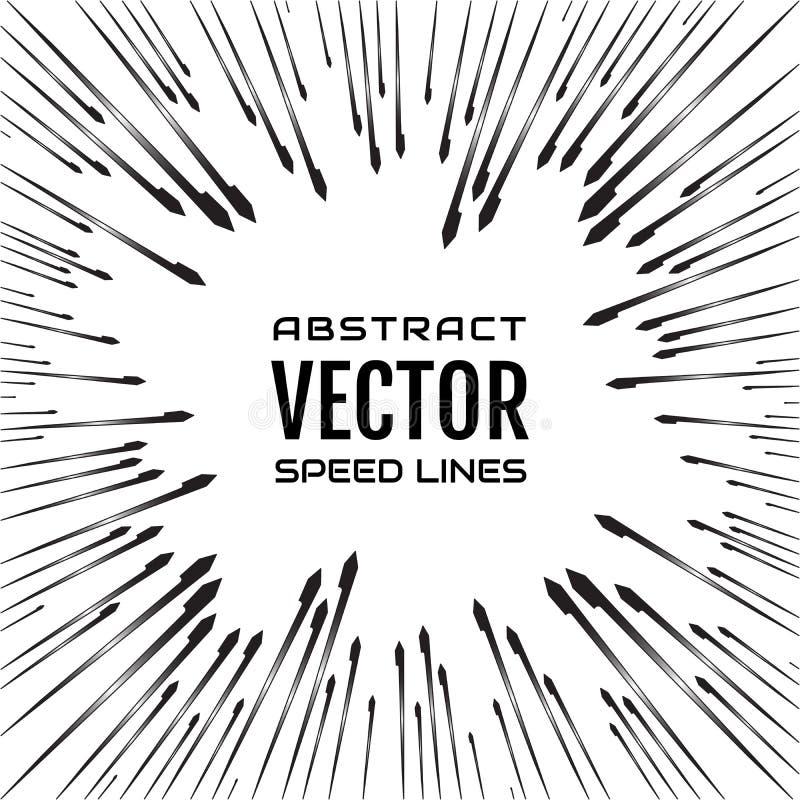Festliche komische Radialgeschwindigkeitslinie mit Steigungsstrahlen und harter Anschlag auf weißem Hintergrund, wie Feuerwerken lizenzfreie abbildung