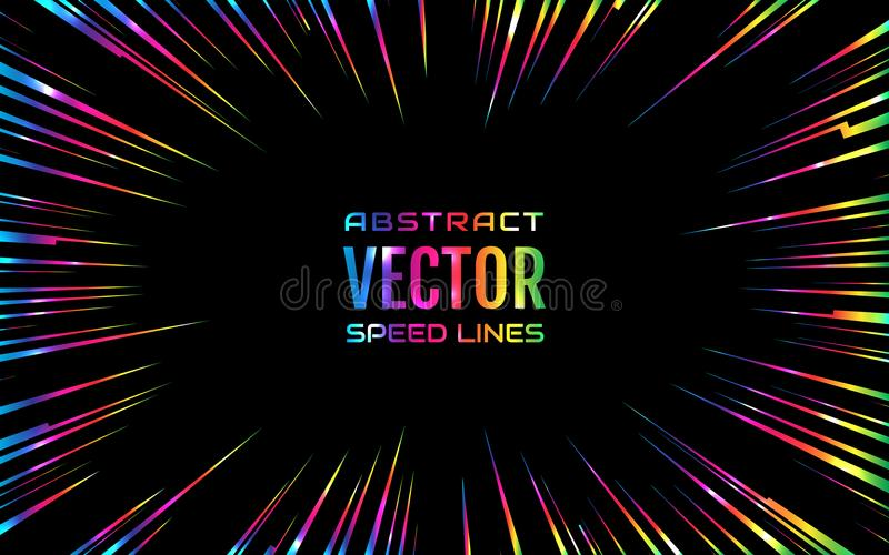 Festliche komische Radialregenbogengeschwindigkeitslinie, schillernde Farbe auf schwarzem Hintergrund, wie Feuerwerken Effektener stock abbildung