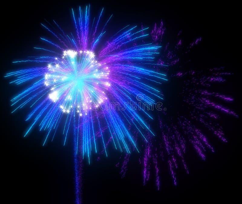 Festliche purpurrote und blaue Feuerwerke nachts vektor abbildung
