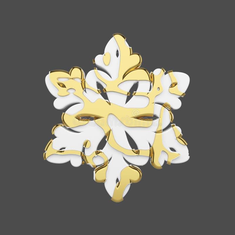 Festliche Schneeflocke im Gold und in der weißen Art lokalisiert auf grauem Hintergrund Weihnachtselement in den goldenen abstrak stock abbildung