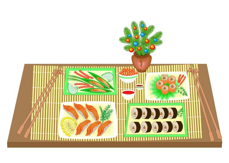 Festliche Tabelle Blumenstrauß des neuen Jahres von einem Weihnachtsbaum Raffinierte Teller der japanischen nationalen Küche, Mee stock abbildung