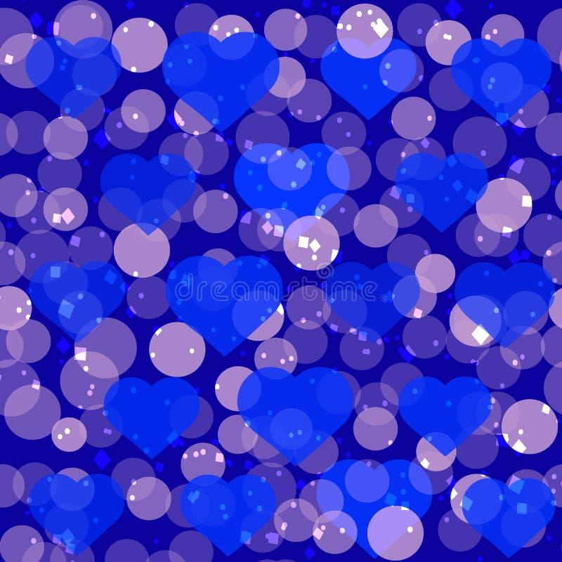 Festlicher blauer Hintergrund mit funkelnden Herzen Romantische Illustration für Feiertage stock abbildung