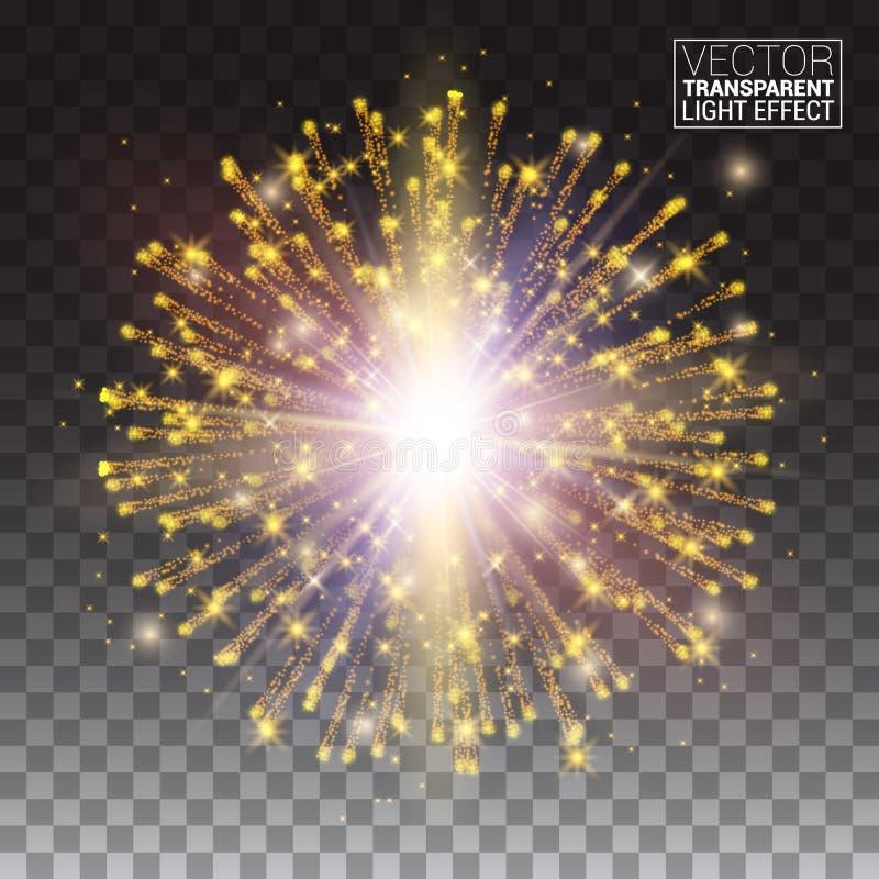 Festlicher Goldfunkeln-Partikeleffekt Glänzende funkelnde Form vektor abbildung