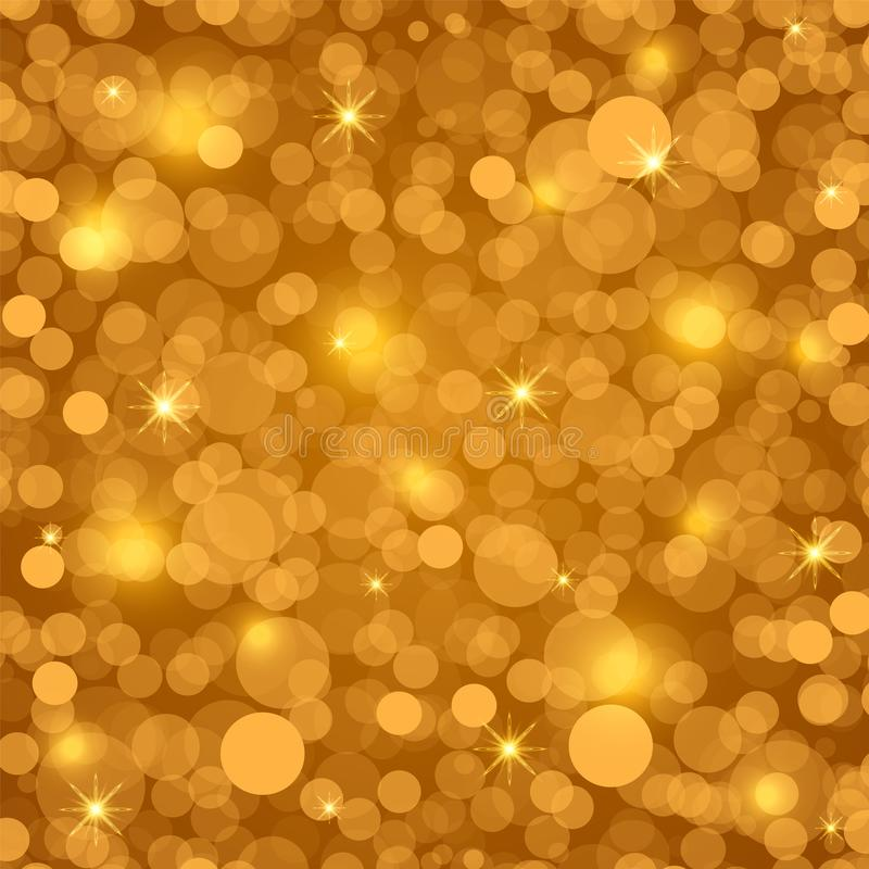 Festlicher Goldhintergrund mit hellem bokeh und Sternen Weihnachts- und des neuen Jahresfestlicher Hintergrund Auch im corel abge stockbild