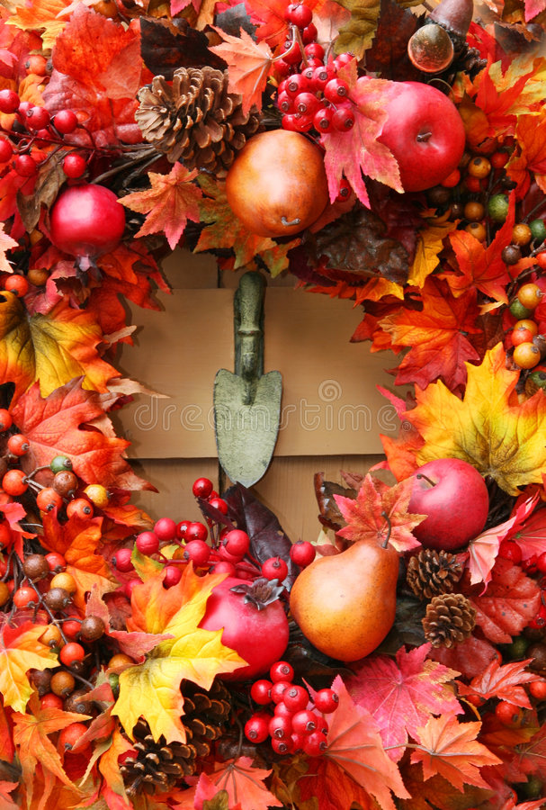 Festlicher Herbst Wreath stockfotos