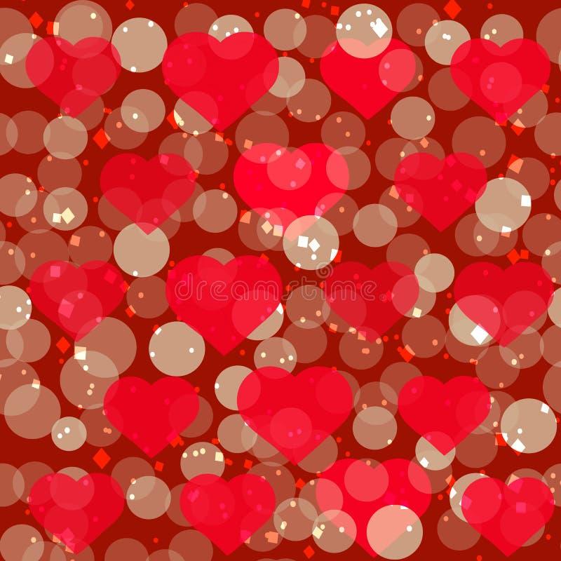 Festlicher Hintergrund mit funkelnden Herzen Romantische Illustration für Feiertage stock abbildung