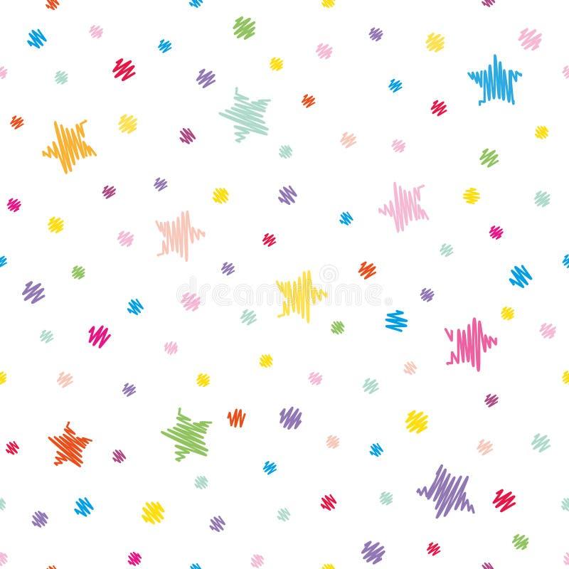 Festlicher nahtloser Musterhintergrund Bunte Tupfen und Sterne lokalisiert auf Weiß stock abbildung