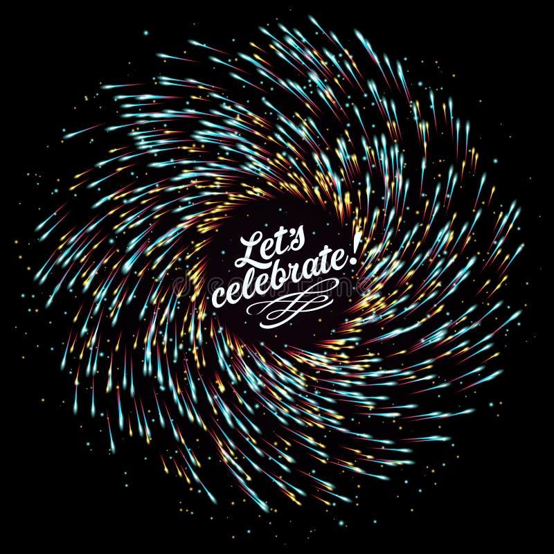 Festlicher neues Jahr ` s Gruß Abstrakte Zusammensetzung in Form von Explosion von Feuerwerken auf einem dunklen Hintergrund Leer vektor abbildung