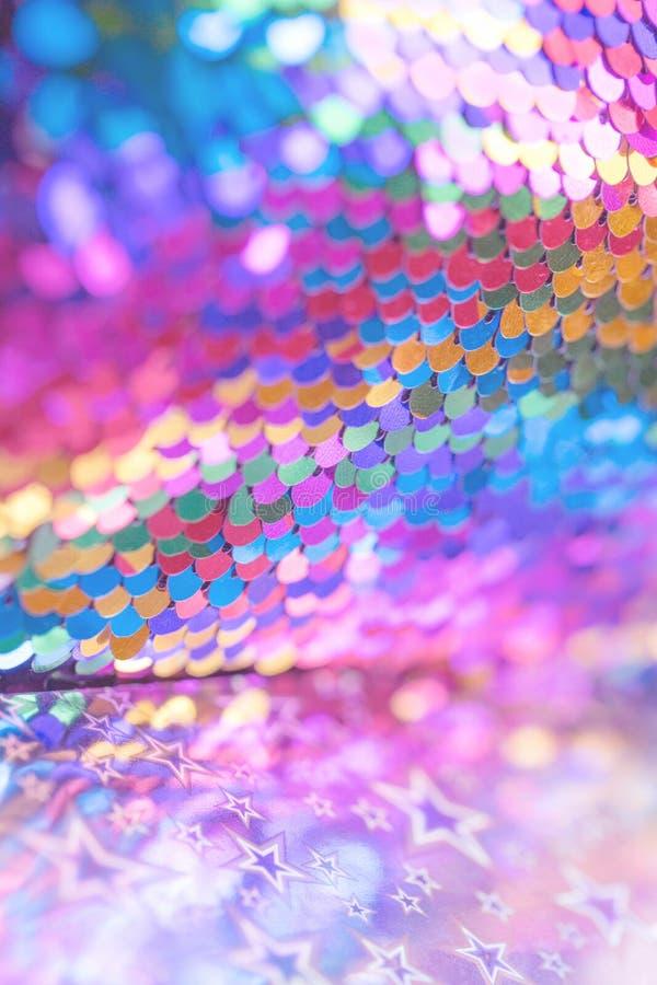 Festlicher Pastellhintergrund der festlichen rosa blauen Paillette lizenzfreies stockfoto