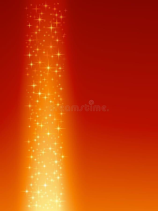 Festlicher roter orange Hintergrund mit Sternen lizenzfreie abbildung