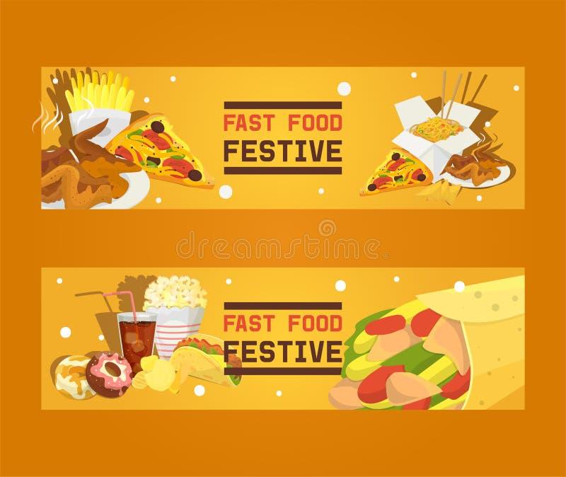 Festlicher Satz des Schnellimbisses der Fahnenvektorillustration Dichtung eingestellt - zu Mittag essen Schnelle Weise, Mahlzeit  stock abbildung