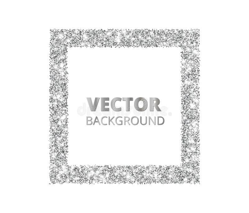 Festlicher silberner Scheinhintergrund Funkelngrenze, Rechteck beschmutzte Rahmen Vektorstaub, Diamanten auf Weiß lizenzfreie abbildung