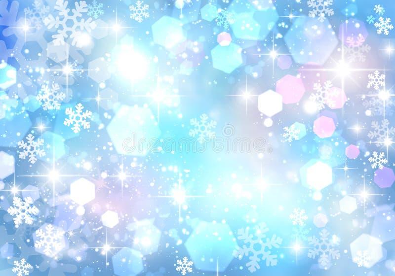 Festlicher Winter blauer bokeh Hintergrund, Funkeln, Scheine, Rosa, Weiß, Glanz, Sterne, Schneeflocken, Abstraktion lizenzfreie abbildung