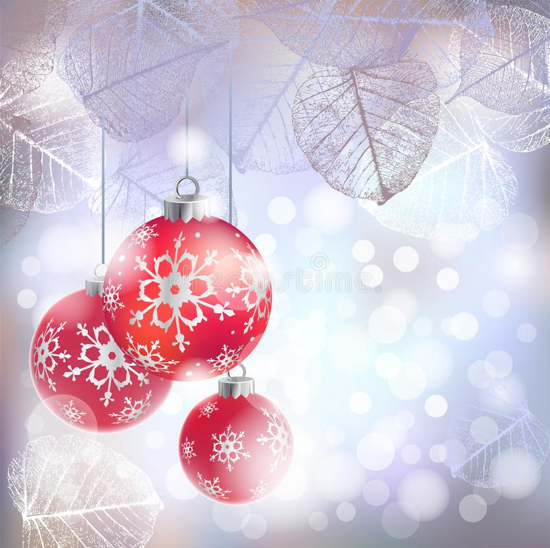 Festlicher Winterhintergrund mit roten Feiertagsbällen gegen bokeh Lichter und Rahmen von Reifblättern stock abbildung