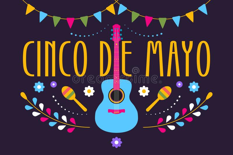 Festliches Design Cinco de Mayos für mexikanischen Feiertag Bunte Fahne vom 5. Mai herein Mexiko mit Gitarre, Blumen, maraca und  lizenzfreie abbildung