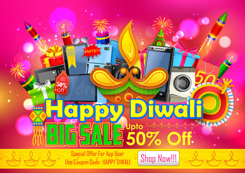 Festliches Einkaufsangebot für Diwali-Feiertagsförderung stock abbildung