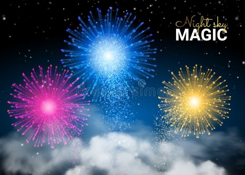 Festliches hell buntes glänzendes Feuerwerk auf dunklem nächtlichem Himmel Feiertags-Glänzen Unendlichkeits-blauer Hintergrund un stock abbildung
