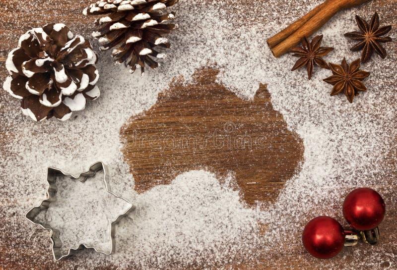 Festliches Motiv des Mehls in Form Australien-Reihe stockfoto