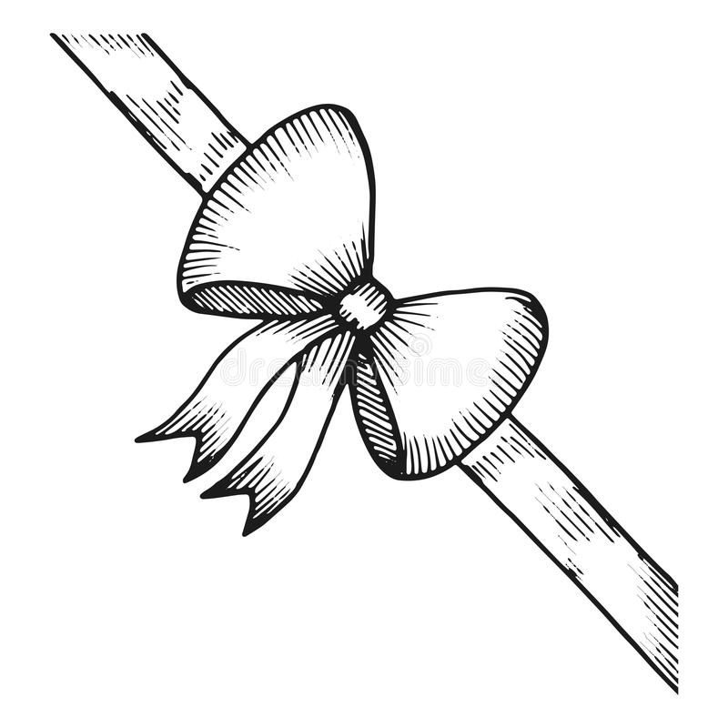 Festliches Skizzenmonochrom des Bogens Getrennt auf weißem Hintergrund lizenzfreie abbildung