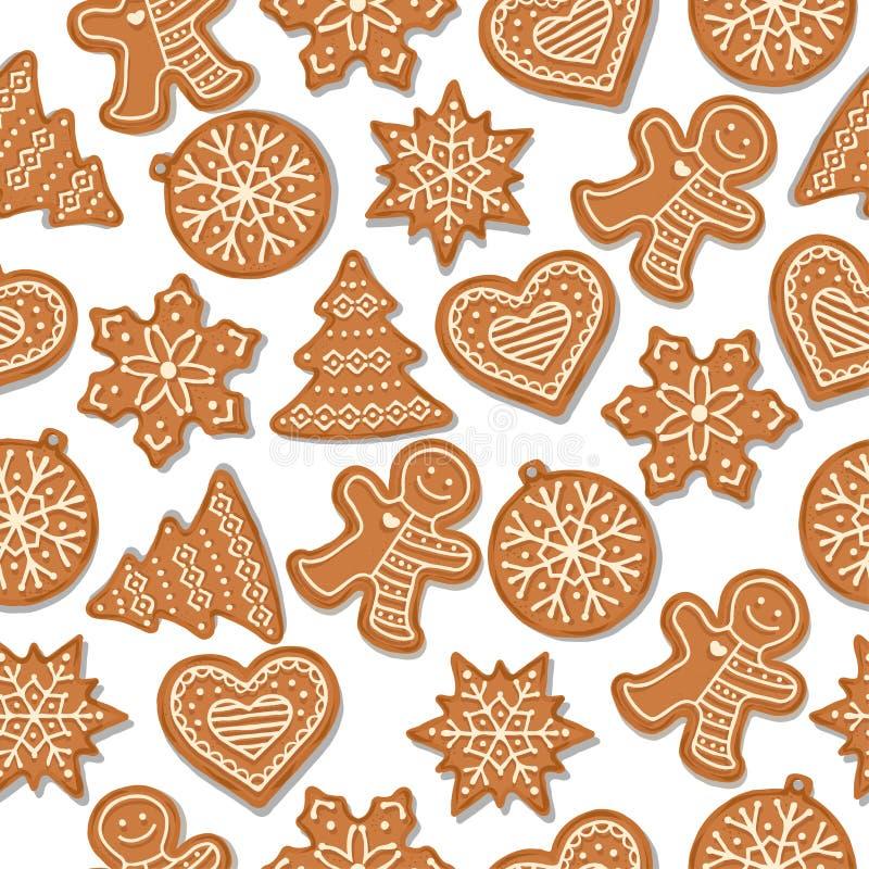 Festliches Weihnachtsnahtloses Muster mit Lebkuchen lizenzfreie abbildung