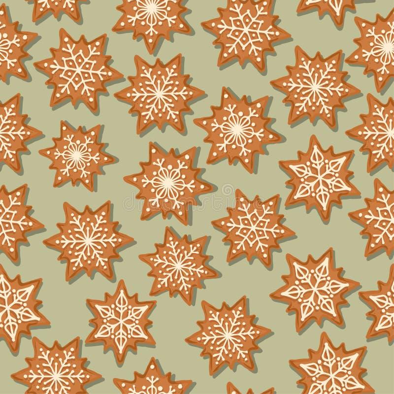 Festliches Weihnachtsnahtloses Muster mit Lebkuchensternen lizenzfreie abbildung