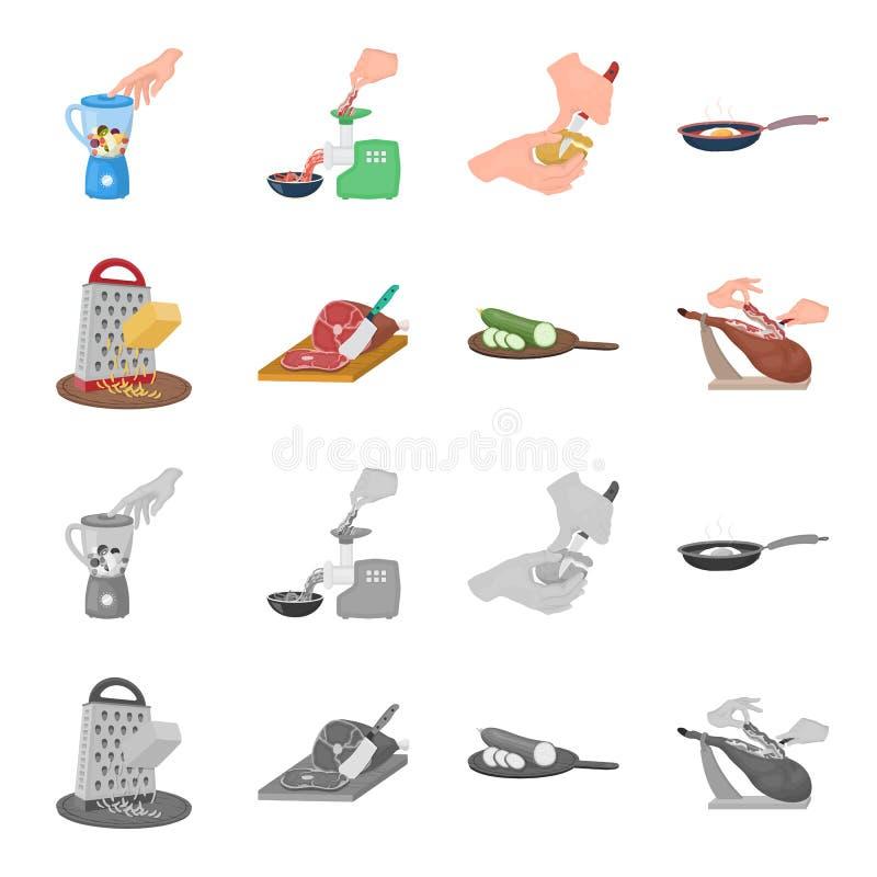 Festlichkeit, Gerät, Werkzeug und andere Netzikone in der Karikatur, einfarbige Art Koch, Hausfrau, übergibt Ikonen in der Satzsa lizenzfreie abbildung
