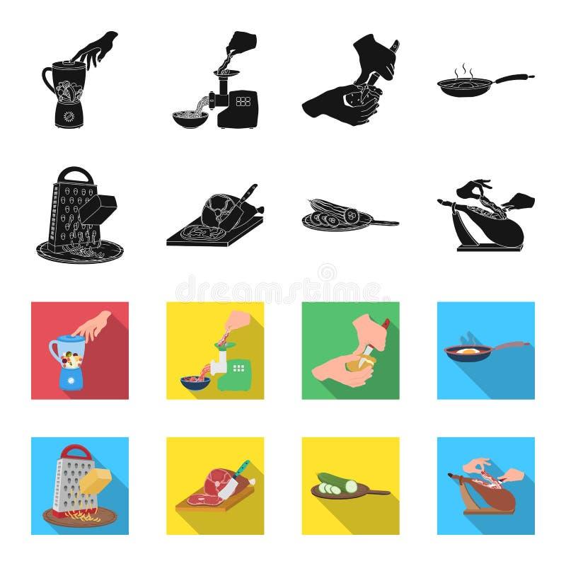 Festlichkeit, Gerät, Werkzeug und andere Netzikone im Schwarzen, flet Art Koch, Hausfrau, übergibt Ikonen in der Satzsammlung vektor abbildung