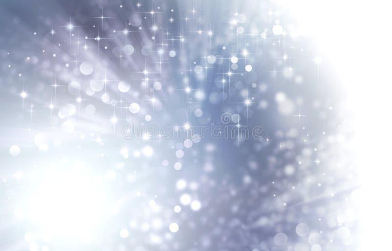 Festlig bakgrund för ljus silver med stjärnor stock illustrationer