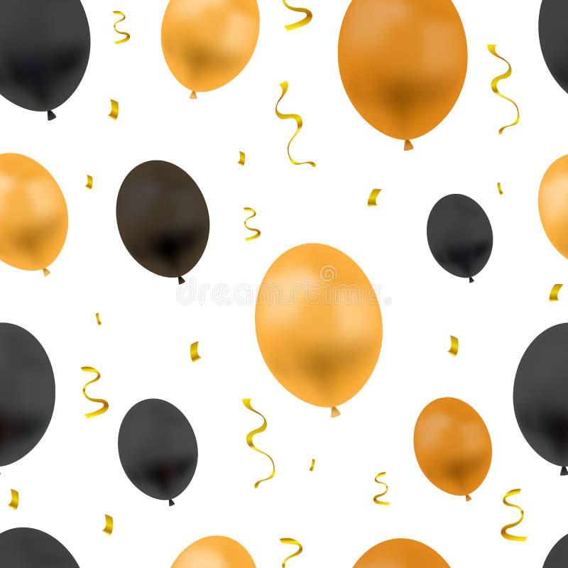 Festlig bakgrund för vektor med ballonger och guld- konfettier, sömlösa, orange och svarta objekt för modell, för färger för allh stock illustrationer