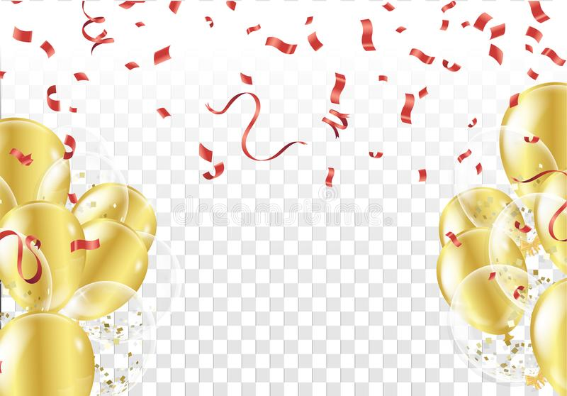 Festlig bakgrund med guldballonger och konfettier stock illustrationer