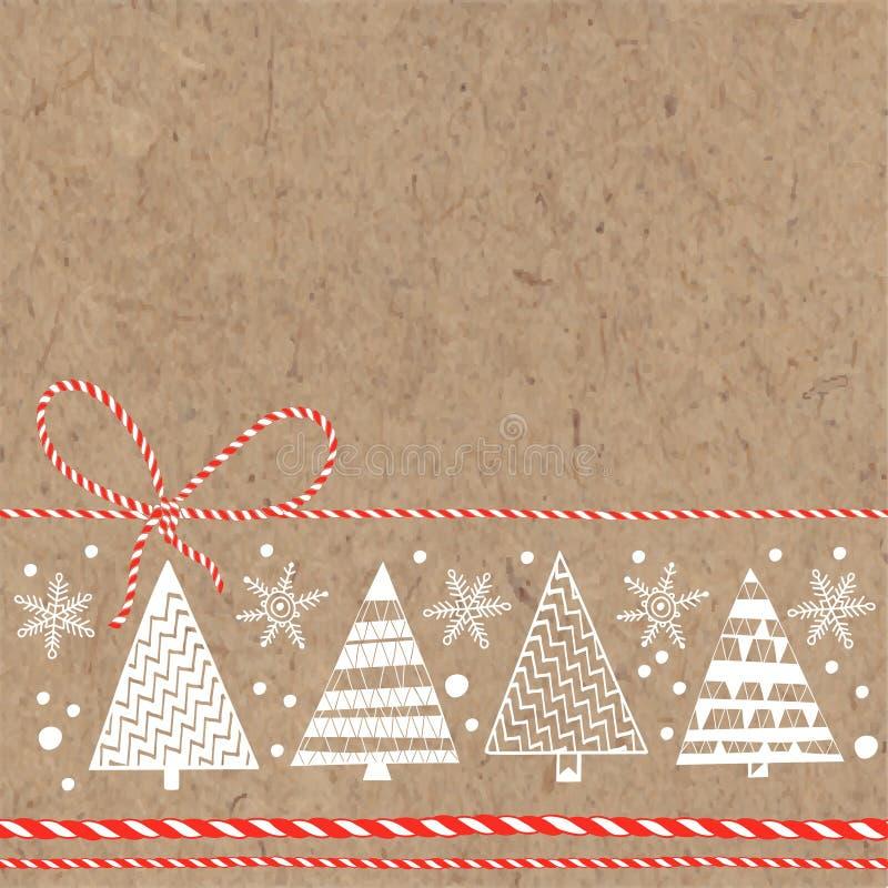 Festlig bakgrund med julgranar och snöflingor på kraft vektor illustrationer