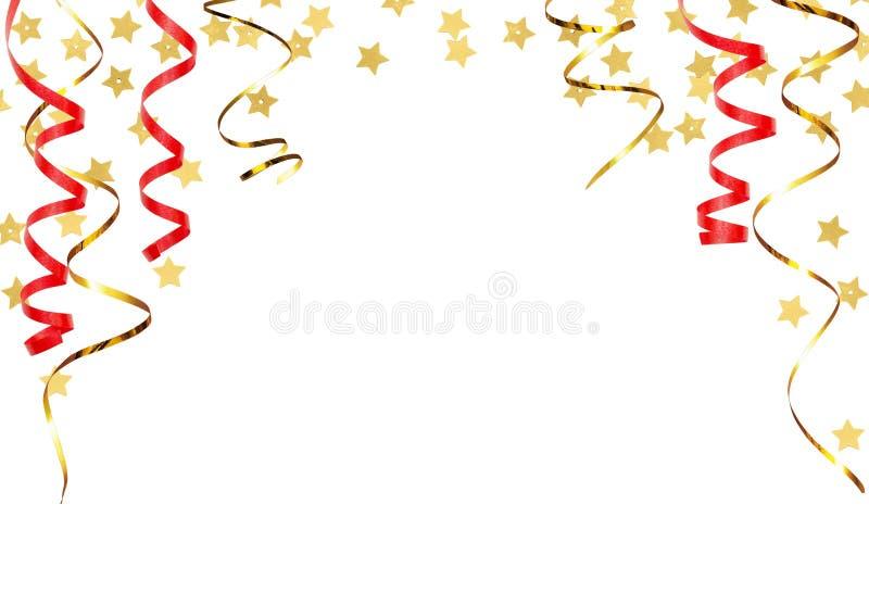 Festlig bakgrund med vridna band och guld- stjärnakonfettier stock illustrationer