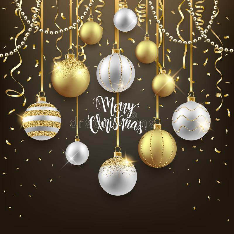 Festlig bakgrundsdesign för jul och för nytt år, dekorativa guld- bollar med konfettier, vektorillustration royaltyfri illustrationer