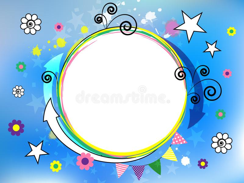 Festlig blå bakgrund med färgrika komiska beståndsdelar abstraktion Pilar spiral, stjärnor, blommor Gladlynt mång--färgad design royaltyfri illustrationer