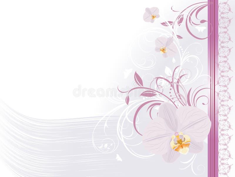 festlig blom- orchidsprydnad för kort royaltyfri illustrationer