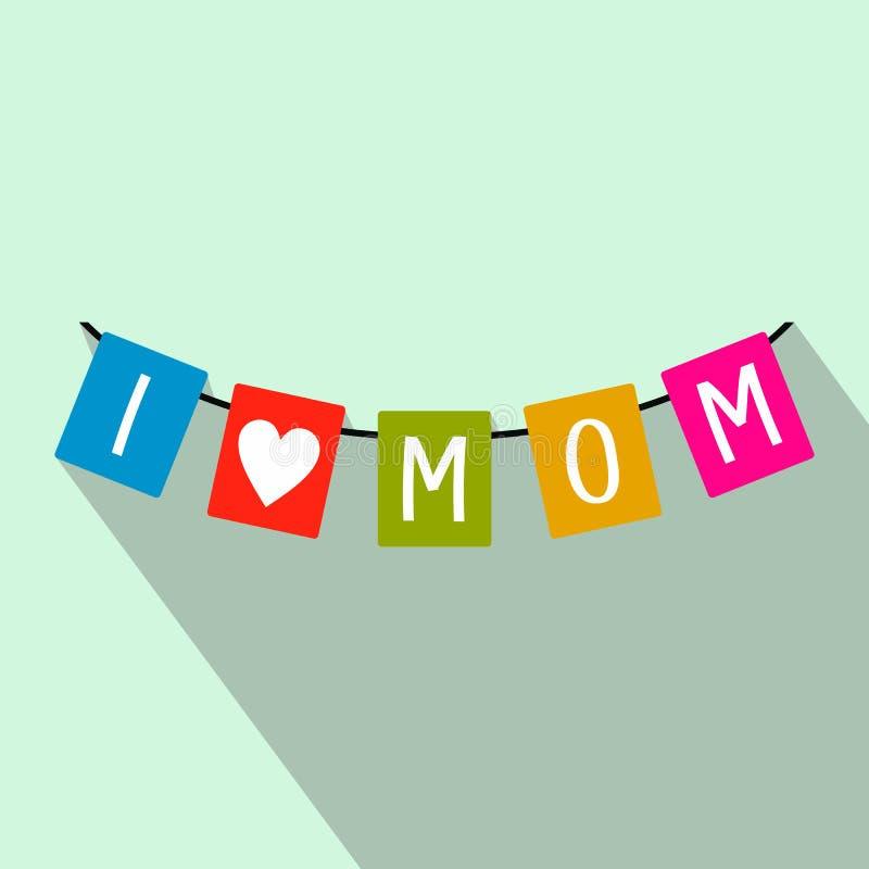 Festlig bunting sjunker med bokstäver som jag älskar mammasymbolen vektor illustrationer