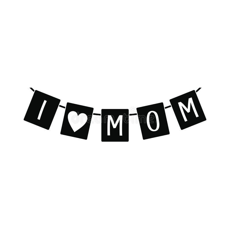 Festlig bunting sjunker med bokstäver som jag älskar mammasymbolen stock illustrationer