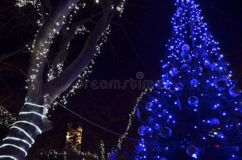Festlig dekorerad julgran med blåa ledde ljus royaltyfria foton