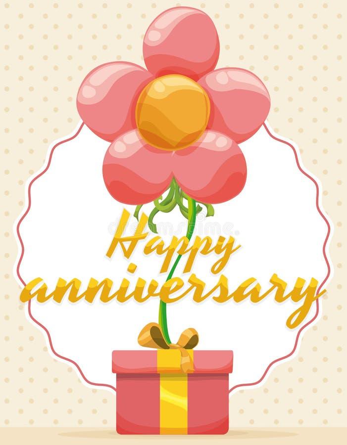 Festlig design för årsdaghändelse med att sväva blomman och gåvan, vektorillustration royaltyfri illustrationer