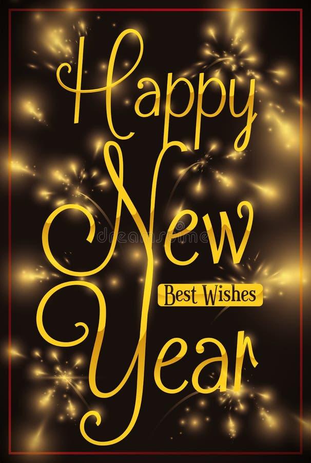 Festlig design för beröm för nytt år med fyrverkerier, vektorillustration stock illustrationer