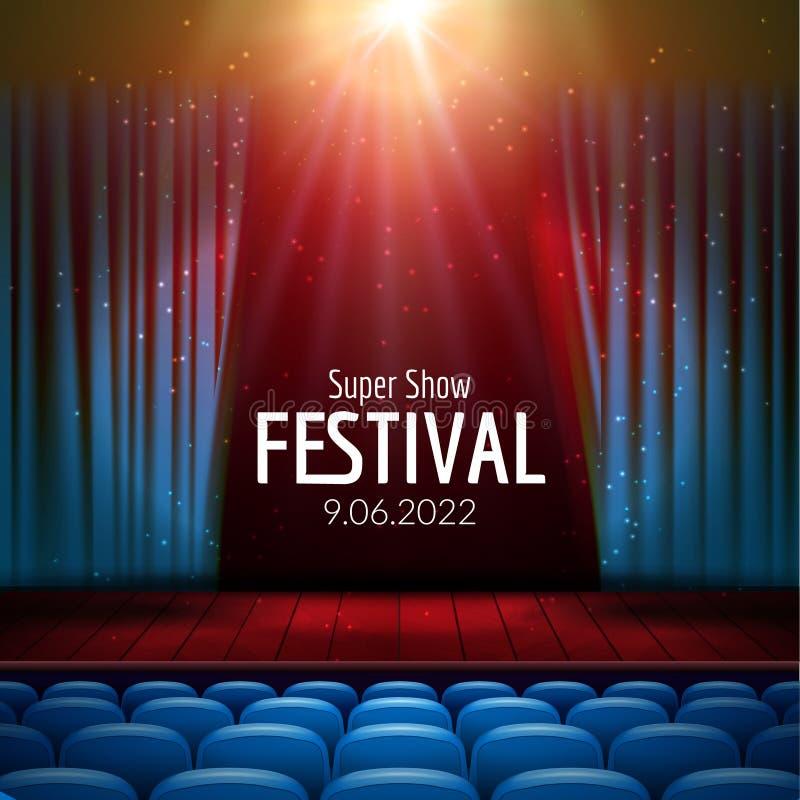 Festlig design för vektor med ljus och träplats och platser Affisch för konserten, parti, teater, dansmall Trä royaltyfri illustrationer