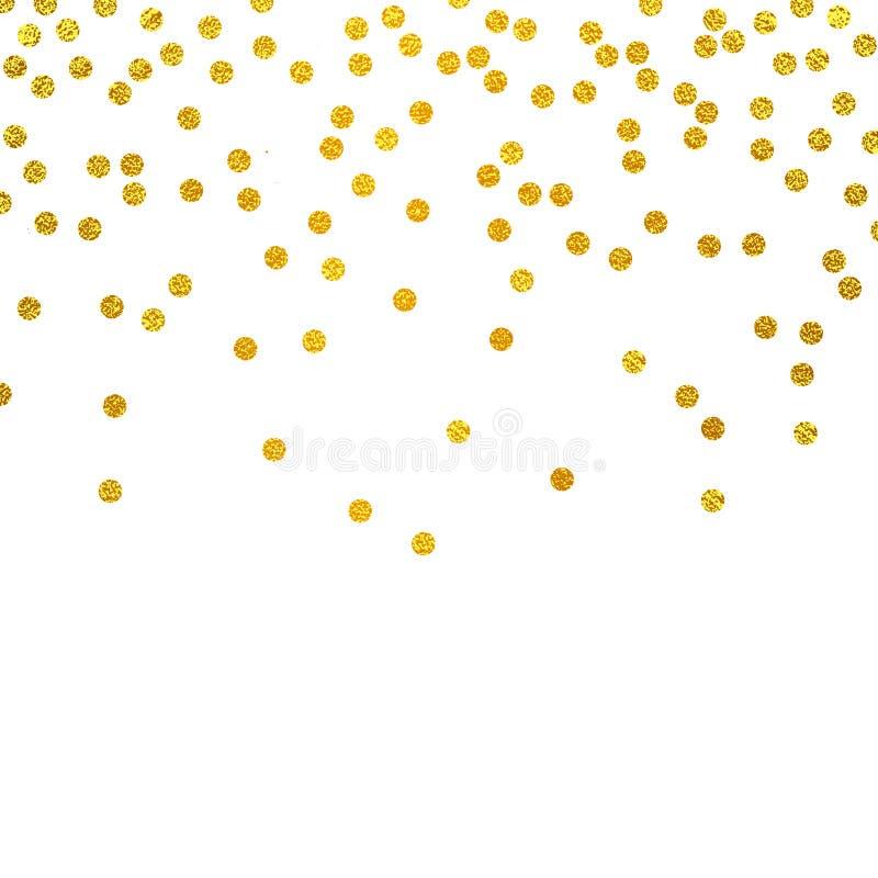 Festlig explosion av konfettier Guld blänker bakgrund dots guld- Vektorillustrationprick vektor illustrationer