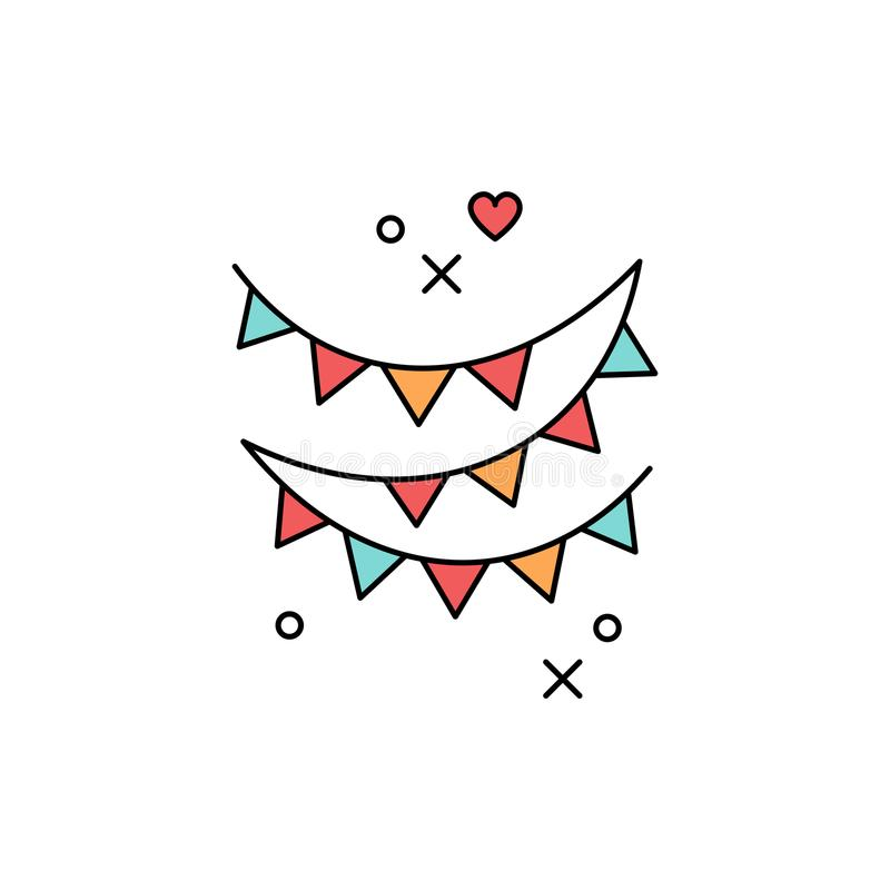 Festlig färgad flagga för girlander symbol Symbol av en ferie, parti, festival som är carnaval, födelsedag Linje konstdesign, vek stock illustrationer