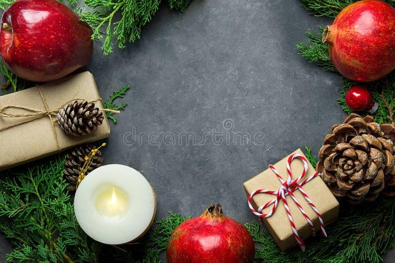 Festlig färgrik botanisk julsammansättning  royaltyfri bild