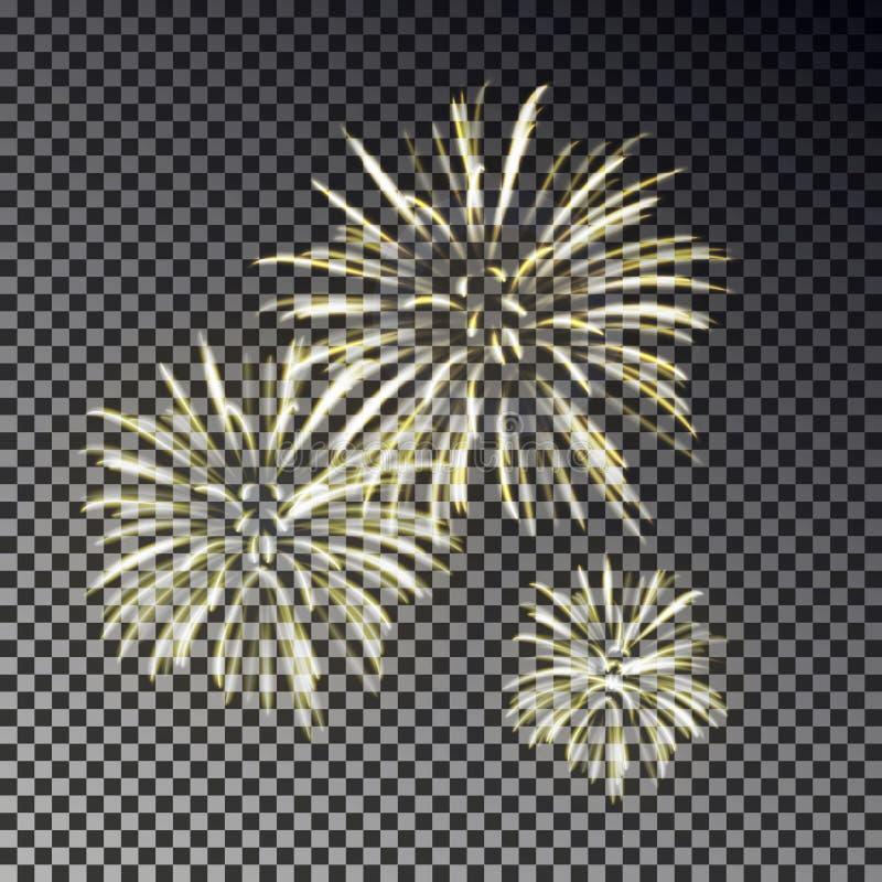 Festlig fyrverkeriuppsättning Isolerad ljus effekt för julfirecracker på mörk bakgrund Fyrverkerideco stock illustrationer