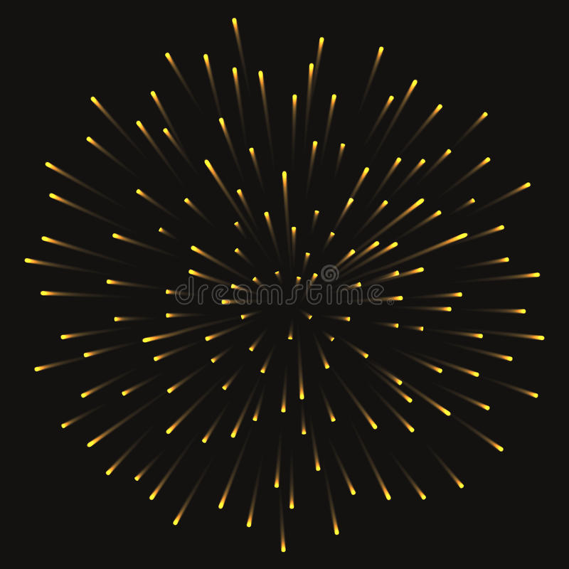 Festlig guld- fyrverkerihonnör som brists på genomskinlig bakgrund också vektor för coreldrawillustration royaltyfri illustrationer